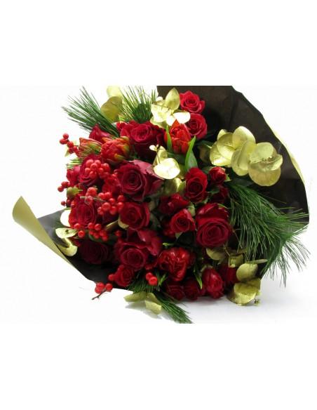 Rose rosse e oro