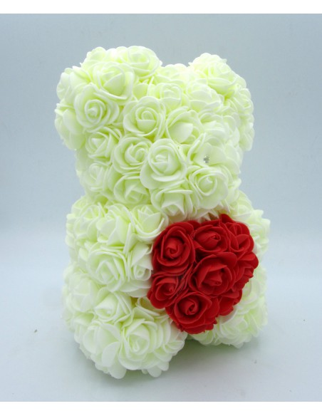 orsetto di rose bianche