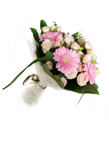 mazzo di gerbere e rose rosa