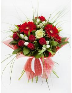 Mazzo di tulipani , gerbere e rose